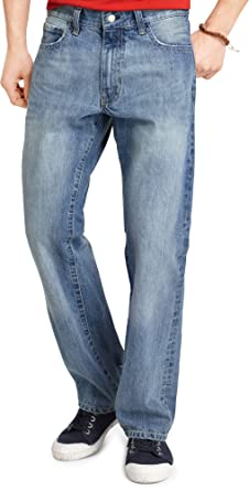 low price sale fashion most popular IZOD Men's Relaxed Fit Straight Leg Jeans in Light Vintage ...