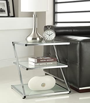 3 Tier Chrome Finish Glass Chair Side End Table