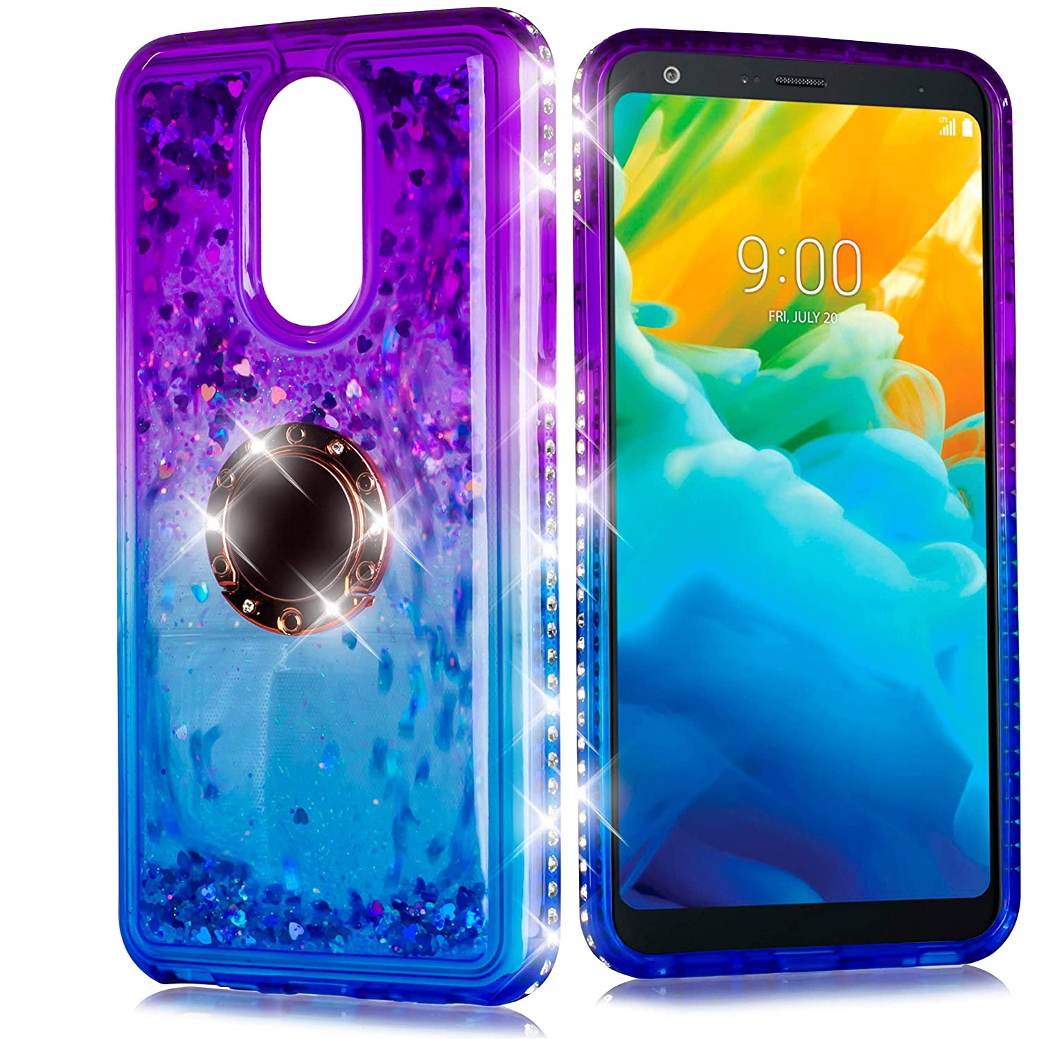 Compatible for LG STYLO 4/ Stylus 4/ LG Q STYLO 4 Q710 (Metro PCS, T-Mobile, Cricket) Cute Girls Motion Glitter Bling Sparkle Protective Soft Shock Proof TPU Womens Shiny Ring Case W/Screen! (Blue)