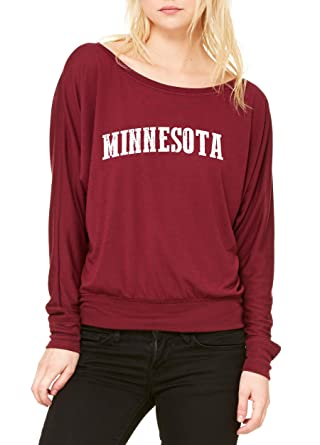 Amazon.com: Ugo MN Map Minneapolis Flag Golden Gophers Home University of Minnesota Womens Flowy Long Sleeve Off Shoulder Tee: Clothing