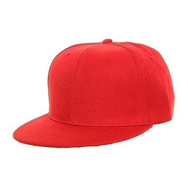PLAIN RED SNAPBACK FLAT PEAK CAP SUPER COOL RETRO LOOK  Amazon.co.uk ... 7a2810f3f0e5