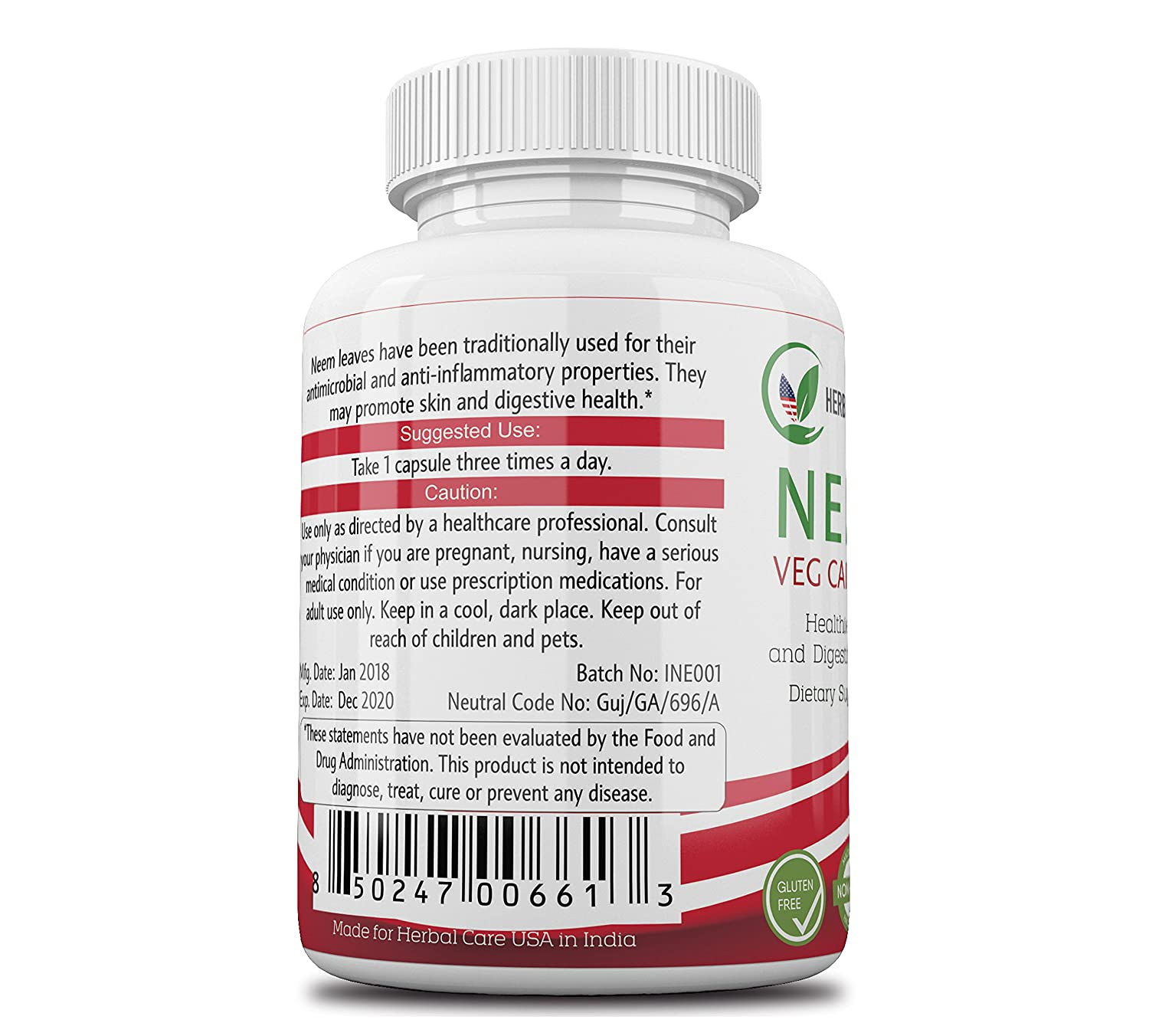 Amazon.com: Premium Neem by Herbal Care USA | Superfood to Assist with Healthier Skin, Digestive System, and Immune Support | Small, Easy to Swallow Vegan ...