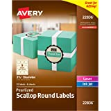 Avery Pearlized Ivory Scallop Round Labels, 2.5-Inch Diameter, Pack of 72 (22836)