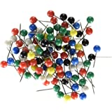 U Brands Map Push Pins, Plastic Head, Steel Point, Assorted Colors, 100-Count