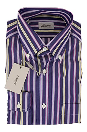 brioni Purple Striped Cotton Slim Fit Dress Shirt Size Small