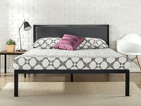 Zinus Bastidor para cama de plataforma de acero con cabecero tapizado y soporte de listones de madera Korey de 35,6 cm, Base para colchón, Sin ...