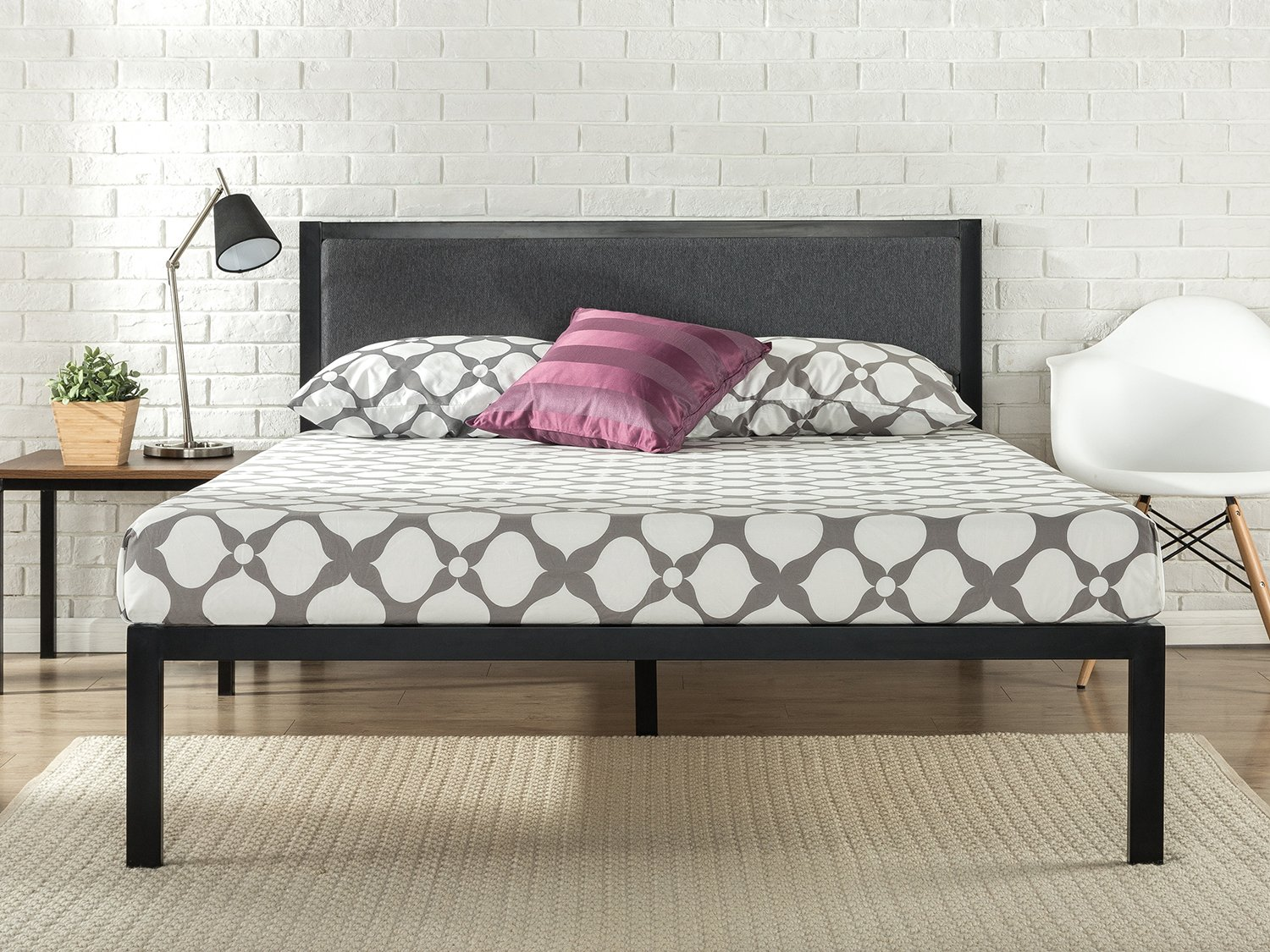 Metal Bed Frame with Upholstered Headboard / Mattress Foundation / Wood Slat Support, Full
