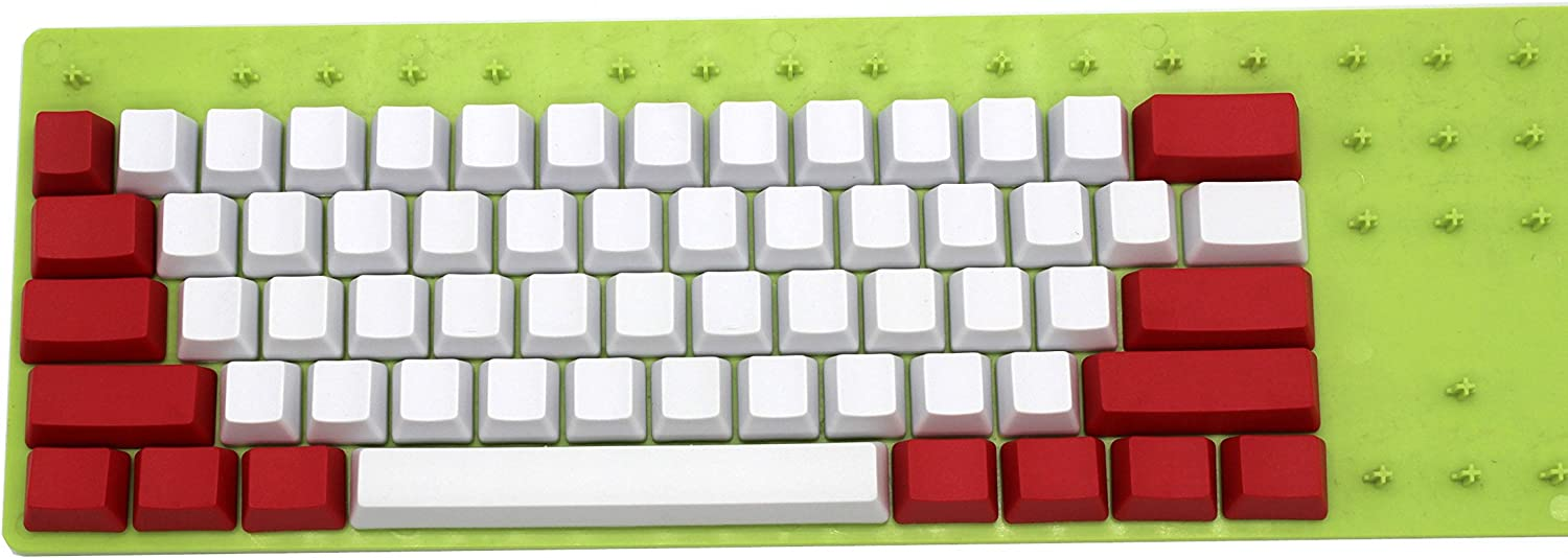 Only Keycap NPKC White Red Mixed Side-Printed top-Printed Blank Thick PBT 104 87 61 Keycaps OEM Profile Key caps for MX Mechanical Keyboard 61 Blank