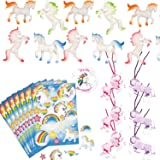 Unicorn Party Favors For 12 - Unicorn Necklaces (12), Unicorn Stickers (12 Sheets), Unicorn Figures (12) and a Birthday Sticker