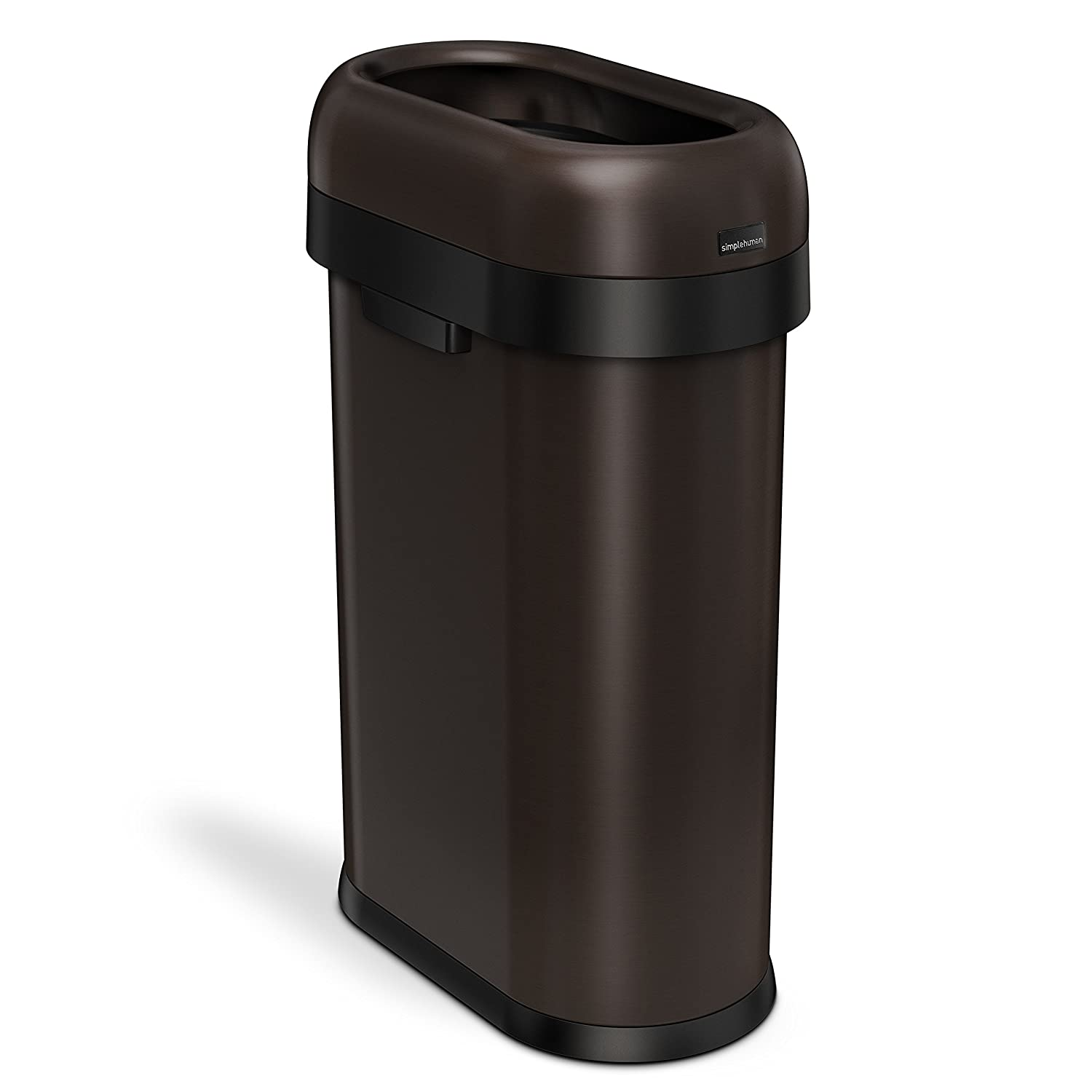 simplehuman Slim Open Top Trash Can, Commercial Grade, Heavy Gauge Dark Bronze Stainless Steel, 50 L / 13 Gal