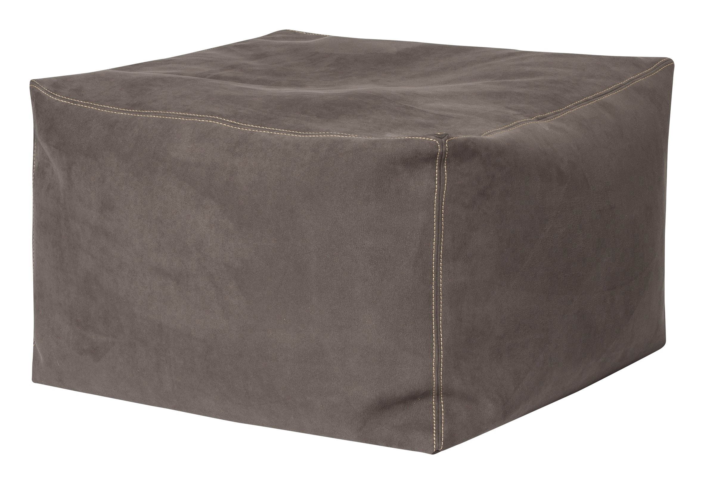 Gouchee Home Loft Bob Collection Contemporary Faux Suede Fabric Upholstered Amp Design Square Pouf/Ottoman, Brown