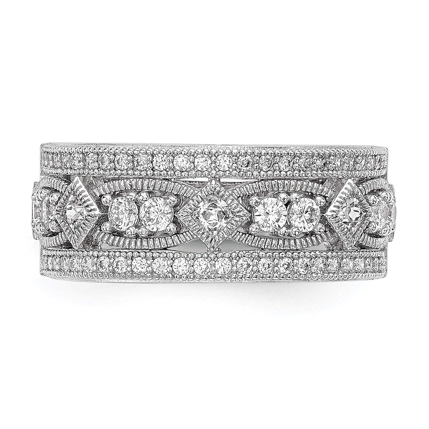 Brilliant Embers 925 Sterling Silver Rhodium-plated Polished CZ Fancy Band Ring Size 6-8