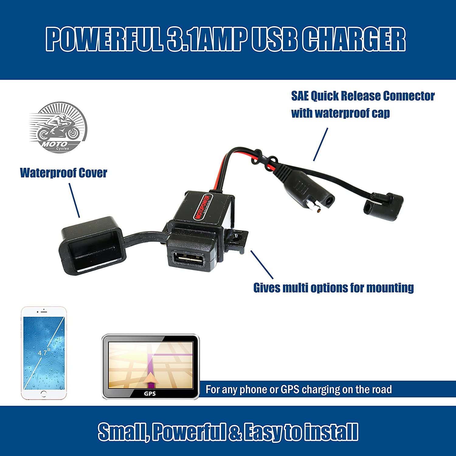 MOTOPOWER MP0609AA 3.1Amp Waterproof Motorcycle USB Charger Kit SAE to USB Adapter Cable W//SAE Cap Motorcycle Phone Tablet GPS Charger