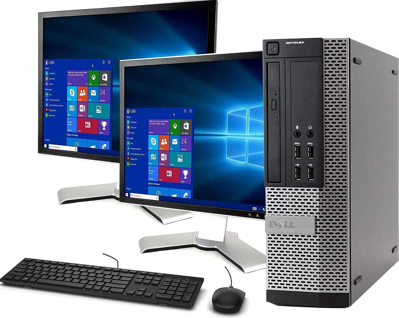 Dell OptiPlex 790 Small Form Computer Desktop PC, Intel Core i5 3.1GHz Processor, 16GB Ram, 120GB M.2 SSD, 1TB Hard Drive, BTO WiFi | Bluetooth, New Dual DELL 19