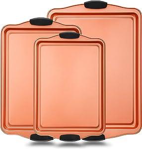 3 Piece Baking Pan Set - PFOA, PFOS, PTFE Free Flexible Nonstick Carbon Steel Bakeware Set - Home Kitchen Bake Pan Cookie Sheet Stackable Baking Tray Set w/ Red Silicone Handles - NutriChef NCSBS3S45