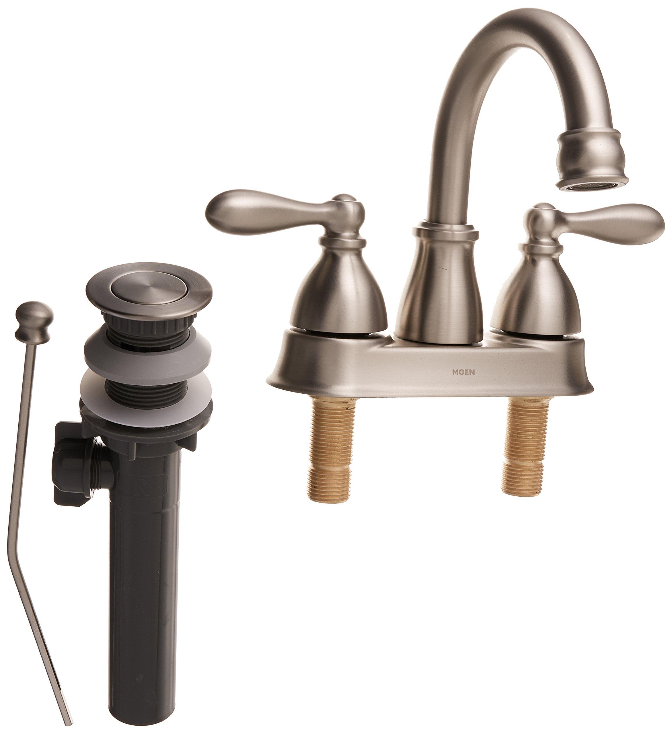 Moen WS84667SRN Caldwell Two-Handle Bathroom Faucet High Arc Lavatory Sink Centerset, Spot Resist Brushed Nickel