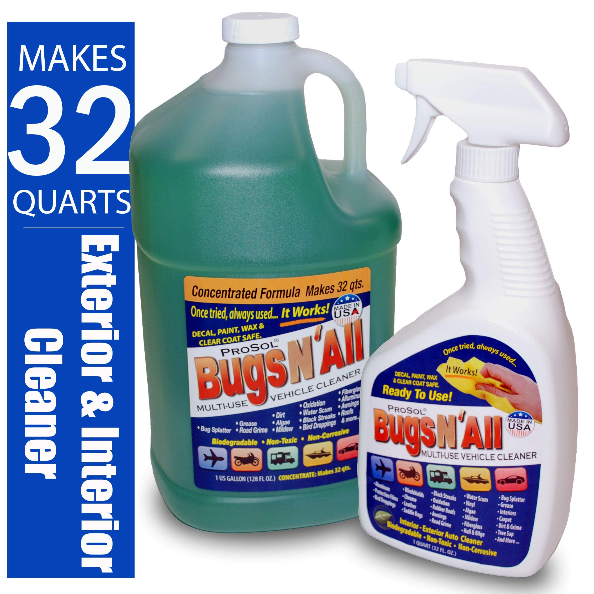 Bugs N All 1 Gal. Concentrate Makes 32 Qts. Pre-Wash Vehicle Cleaner - Bug Splatter and Black Streak Remover. Includes an Empty 32 oz. Spray Bottle - Will Not Remove Wax! by ProSol (Image #1)