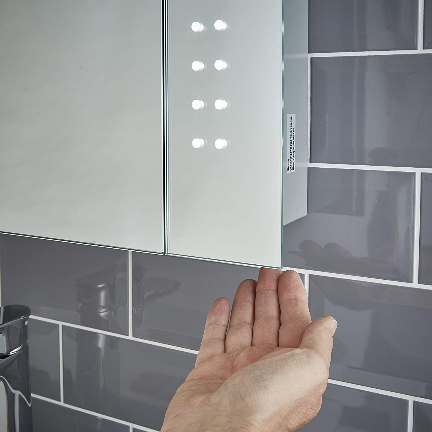 X 141mm H Shaver Socket /& Sensor Switch Fully Certified to British Standards 500mm D Pebble Grey Hollis LED Illuminated Bathroom Mirror Cabinet with Demister W X 700mm