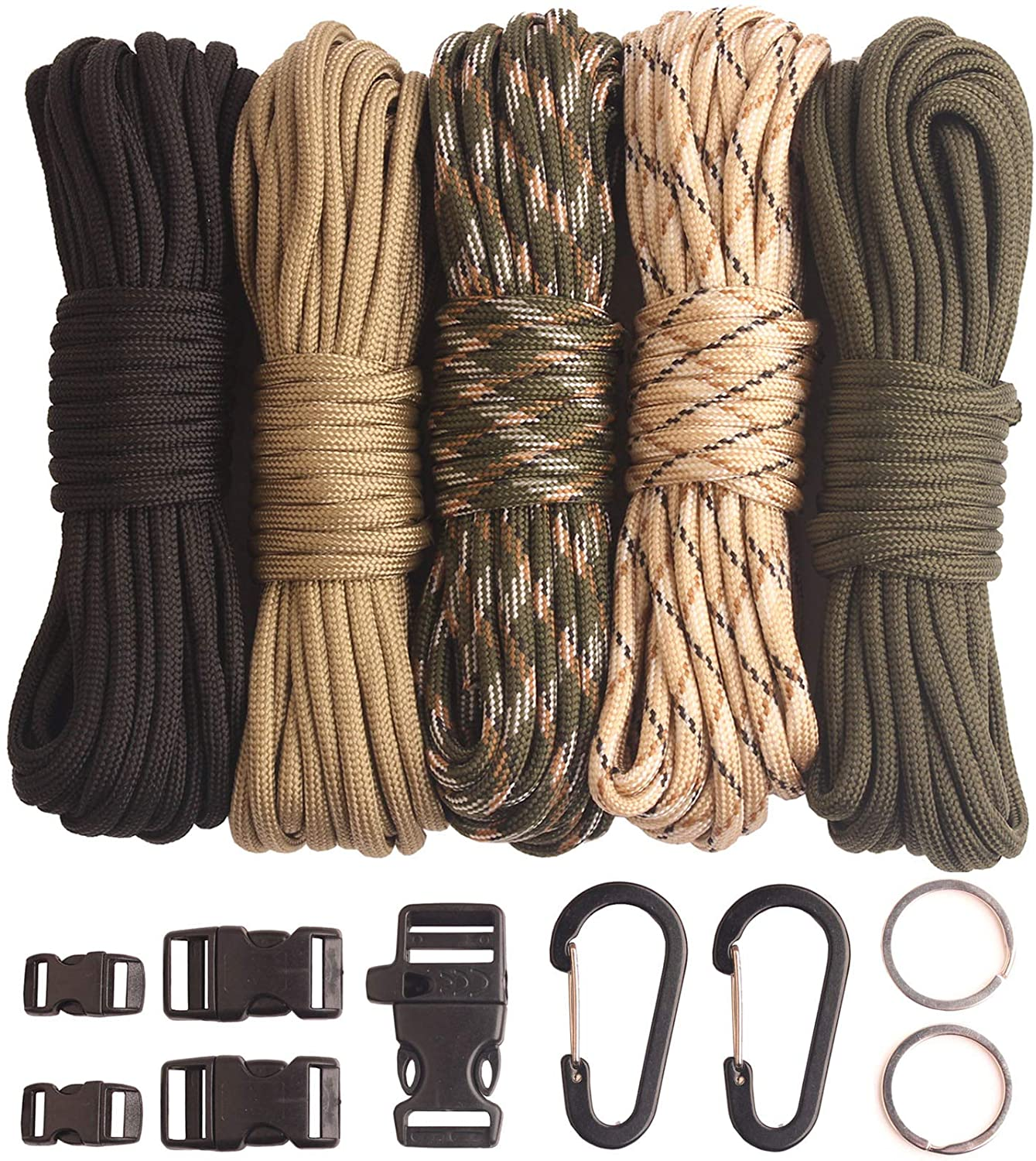 BENGKU Paracord Parachute Cord 550lb Type III Paracord Combo Crafting Kit for Paracord Bracelet,Paracord Lanyards,Many Colors of Parachute Cord,Buckles and Key Rings.