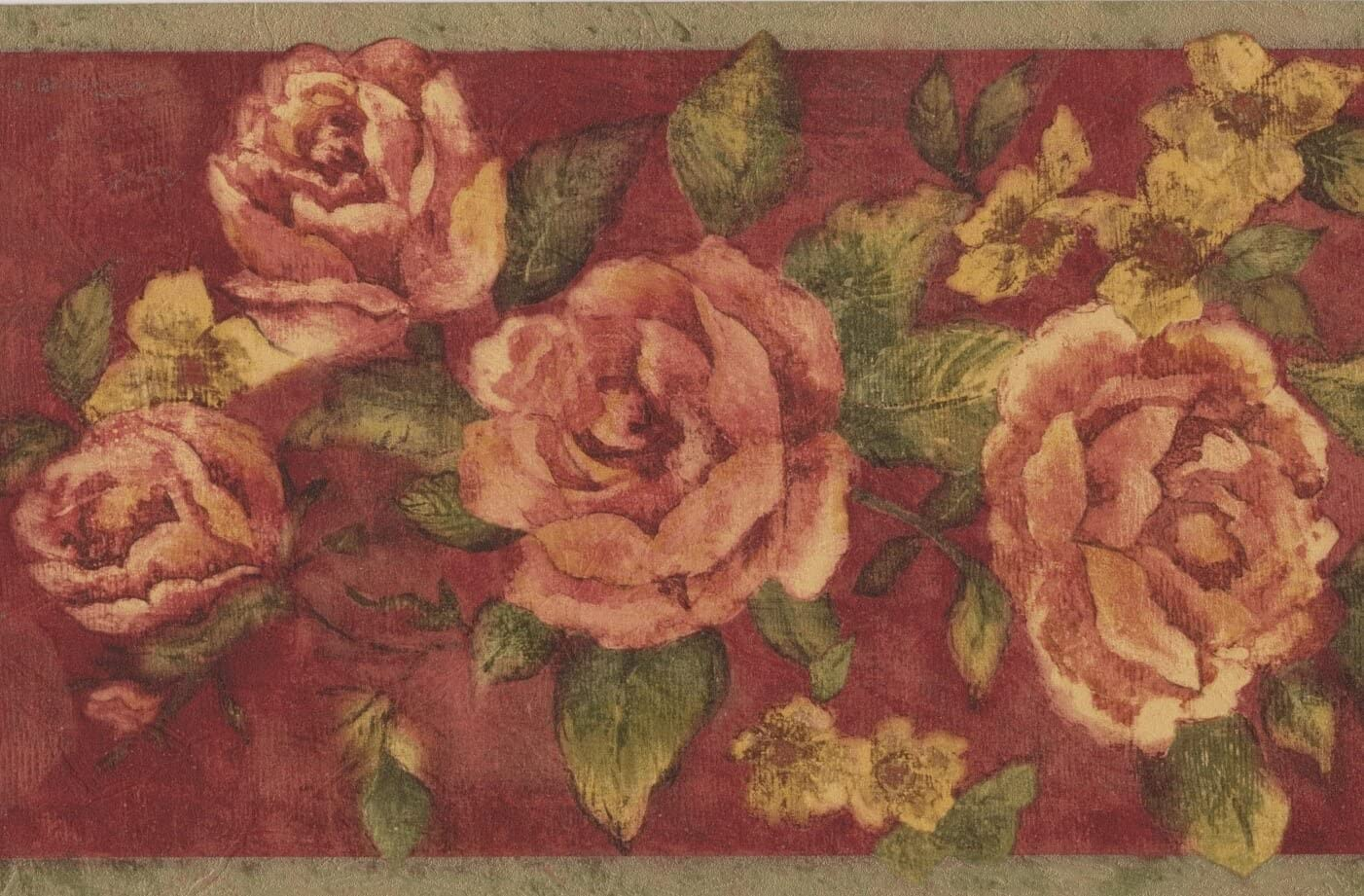 Vintage Bloomed Magenta Pink Roses On Vine Maroon Wallpaper Border