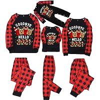 Pijamas de Navidad a Juego con la Familia Camisetas de Manga Larga con Estampado de Alce Goodbye 2020 Hello-2021…