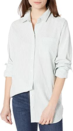 Goodthreads Amazon Brand Women's Seersucker Long Sleeve Oversized Boyfriend Shirt