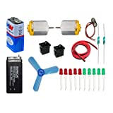 9v battery, DC toy motor, fan blade ,Led etc .Science kit for school projects