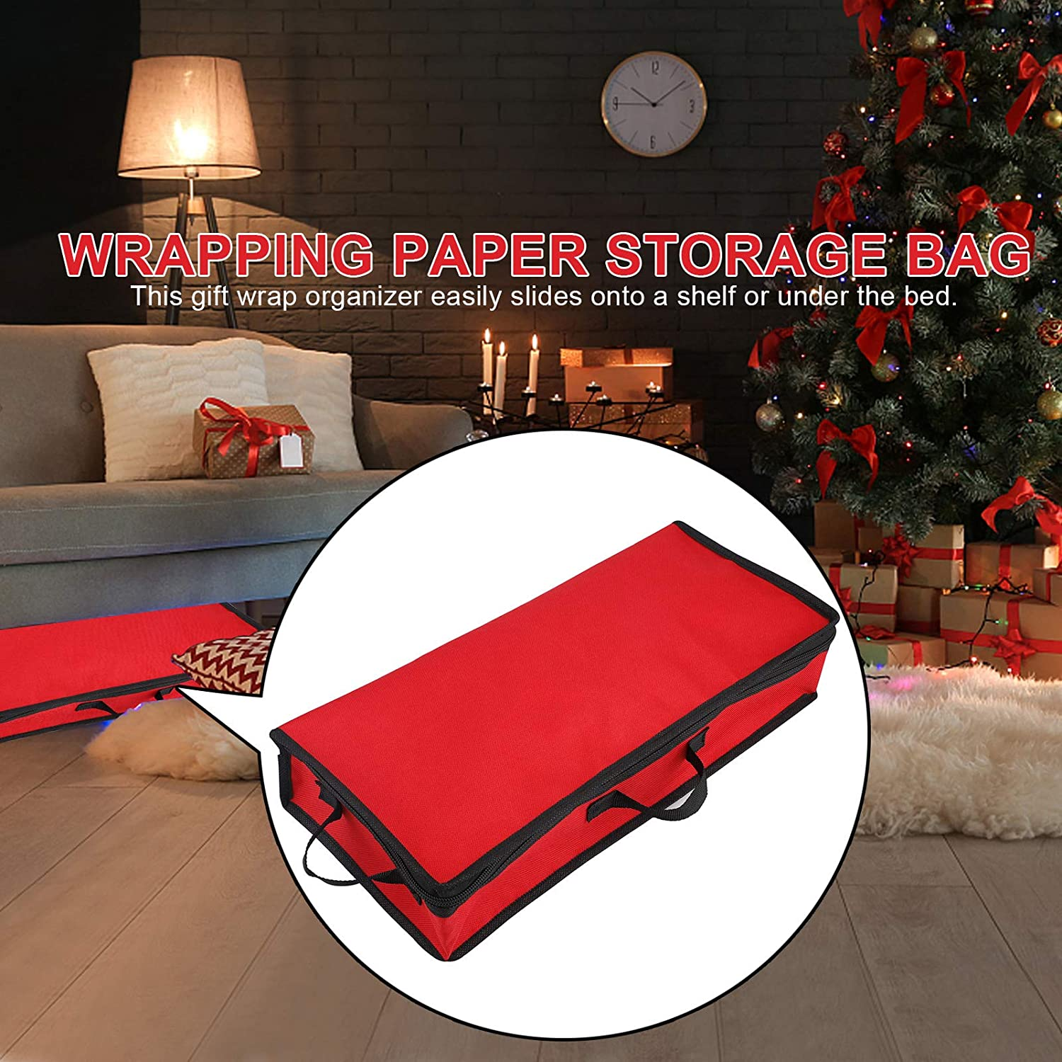 Cards Jourad Gift Wrapping Paper Storage Bag Tags Bows Storage Box With Compact Interior Pockets Ribbons Bags Gift Wrap Supplies Organizer /& Storage Bag Wrapping Paper 78.5x11x34cm