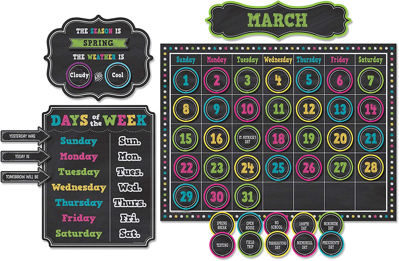 Teacher Created Resources TCR5615 Chalkboard Brights Calendar Bulletin Board Set, Paper, Multi