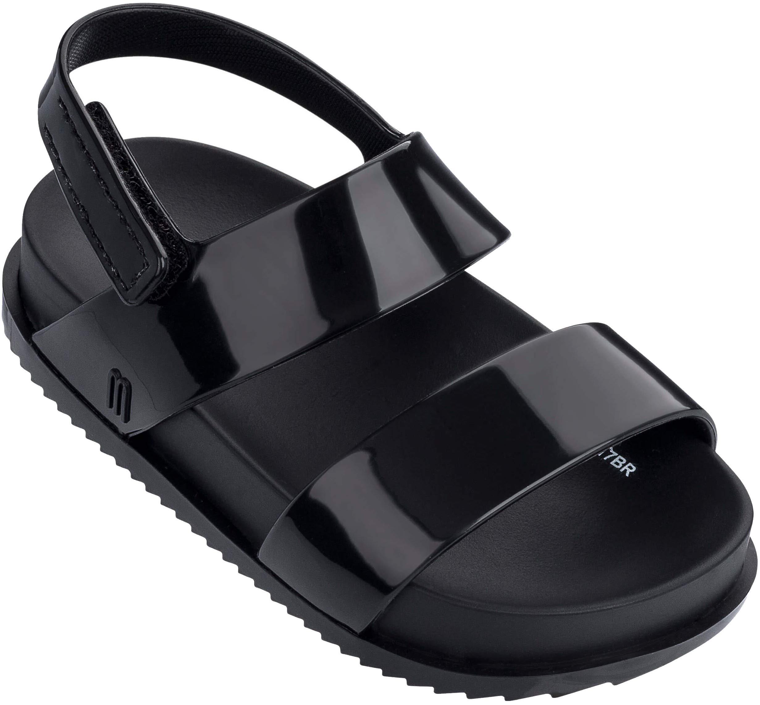 Mini Melissa Girls' Mini Cosmic Sandal Slipper, Black, 7 Medium US Toddler