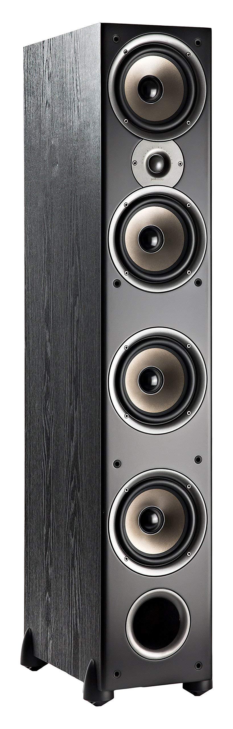 Polk Audio Monitor 70 Series II Floorstanding Speaker - Bestseller for Home Audio | Big Sound, | Incredible Value | 1 (1-inch) Tweeter and 4 (6.5-inch) Woofers | Black, Single (Renewed)