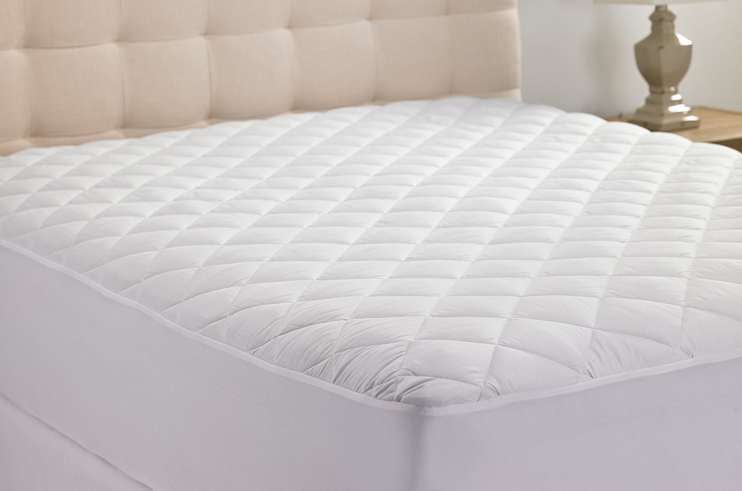 Hanna Kay Hypoallergenic Quilted Stretch-to-Fit Mattress Pad, 10 Year Warranty-Clyne Collection (King)