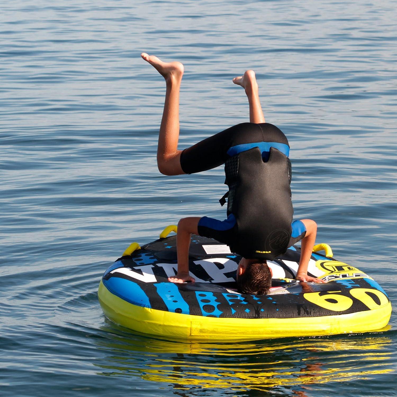 Quick-Connect-Hook Deck-Tube Boston Valve blue-yellow-black MESLE Tube Vapor 60 140cm x 140cm 840 D Nylon 2 Person Speed Towable Towable-Tube EVA seating