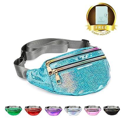 5648ee690712c0 Fanny Pack Belt Bag, Holographic Fanny Packs for Women Men Kids, Fashion  Waterproof Waist