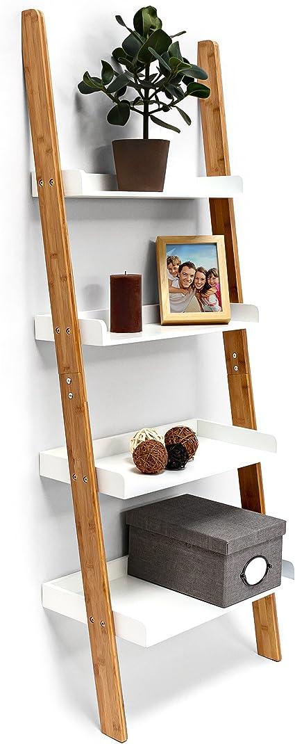 Relaxdays – Estantería Estilo Escalera de bambú, con 4 estantes, de 144 x 56 x 34 cm, para Cuarto de baño, Dormitorio, Sala de Estar, Color Blanco ...