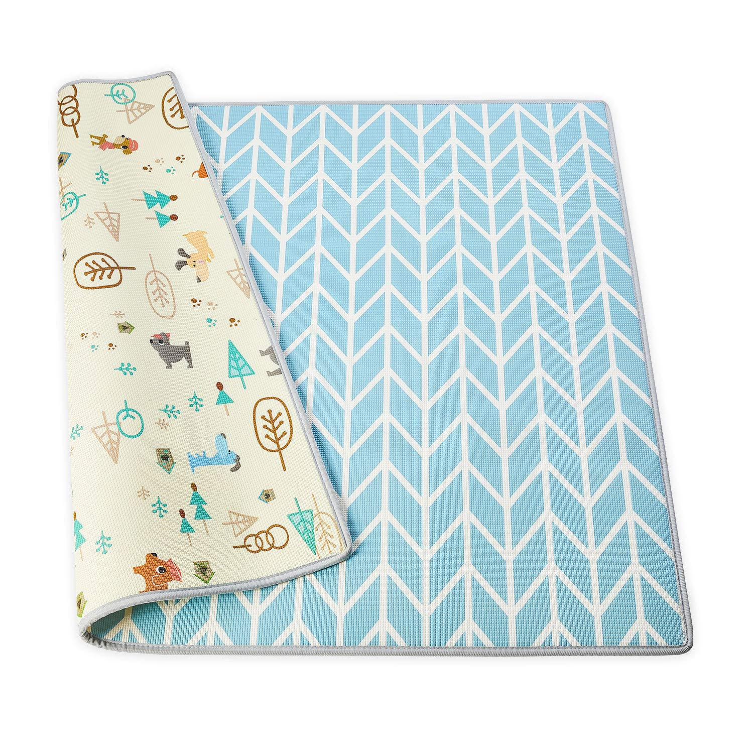 Angelbliss Play Mats for Babies - Haute Collection - Play Mat for Infants – Non-Toxic Baby Rug – Cushioned Baby Mat Waterproof Playmat – Reversible Double-Sided Kindergarten Mat (Medium - Blue)