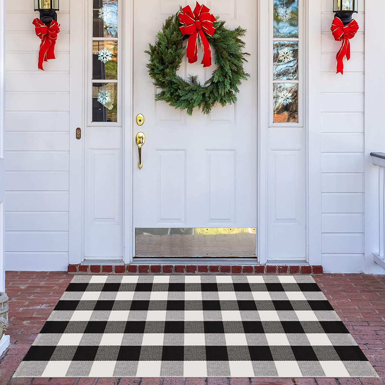 Syntus Buffalo Plaid Rug, 35.4 x 59 inch Doormat Kitchen Rug Black and White Cotton Outdoor Mat for Porch Bathroom Carpet Living Room Throw Area Rug
