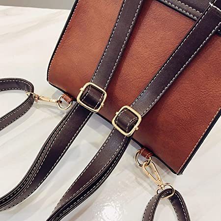Vintage Leather Women Backpack Little Bee Preppy Style College Phone Pocket