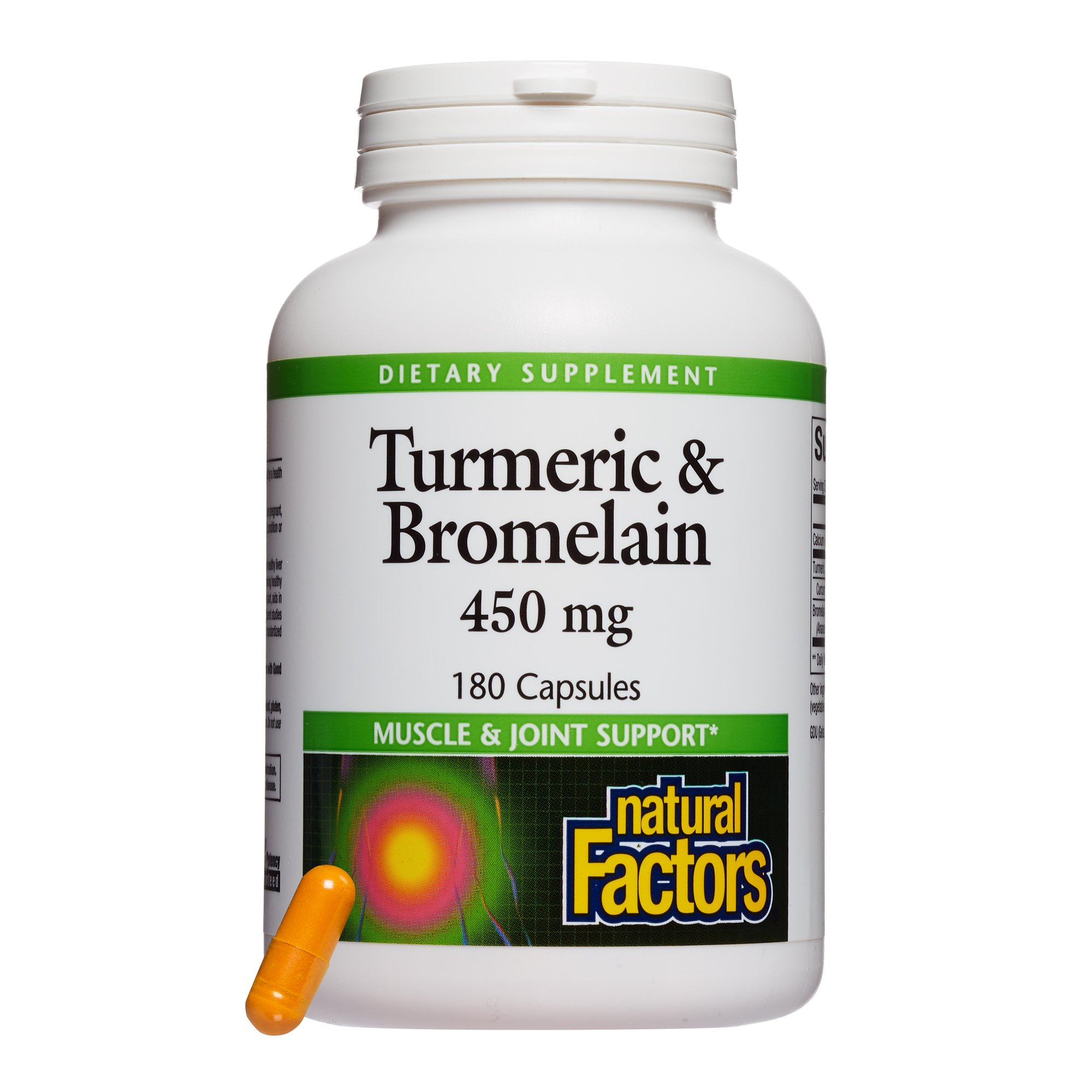 Natural Factors - Turmeric & Bromelain 450mg, Superior Standardized Extracts, 180 Capsules