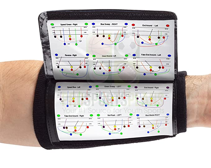 Wristcoaches Qb Wrist Coach Playbook Wristband Adult Black Heavy Duty Football Wristbands Men Three Playsheet Compartments Perfect Flag