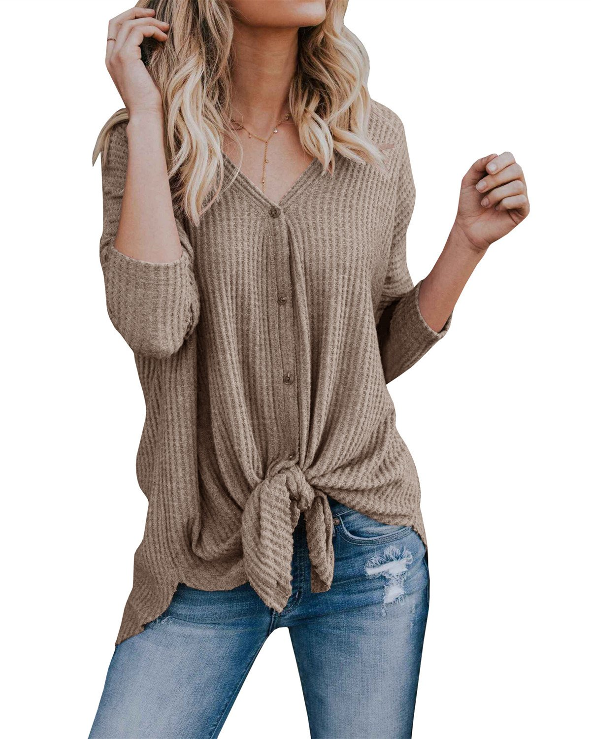 Womens Loose Fitting Henley Shirts Long Sleeve Button Down V Neck High Low Batwing Tops