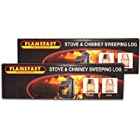 2 X Flamefast Stove & Chimney Sweeping Logs Help to Remove Creosote, Soot and Tar Deposits & Tigerbox Safety Matches