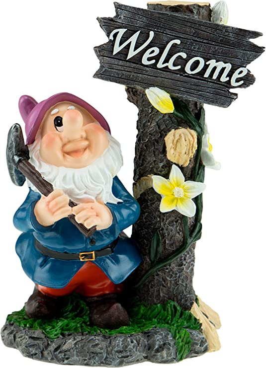 Clever Creations - Gnomo de jardín - Decoración Divertida para el hogar, el césped o la Oficina - Gnomo con Cartel de Bienvenida: Amazon.es: Jardín