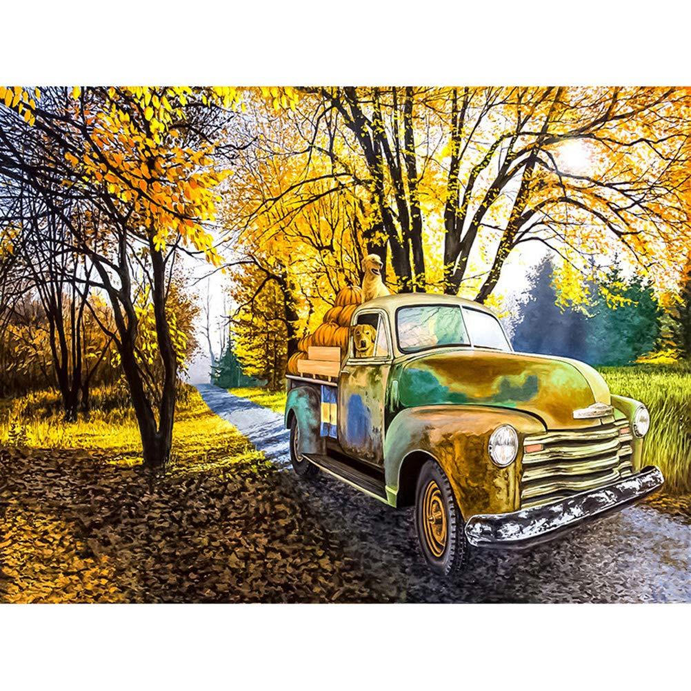 Dessin anim/é de voiture v/éhicule Bus 5d Peinture de diamant D/écoration murale pour chambre denfants DIY Art Peinture Cristaux Broderie Cadre mural Patter-1 25X25CM