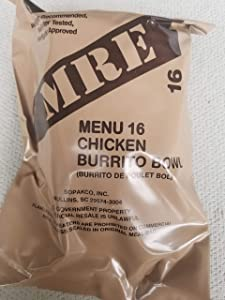 LoJo Surplus 2021 Genuine Military MRE Meals Ready to Eat with Inspection Date 2021 or Newer (Chicken Burrito Bowl)
