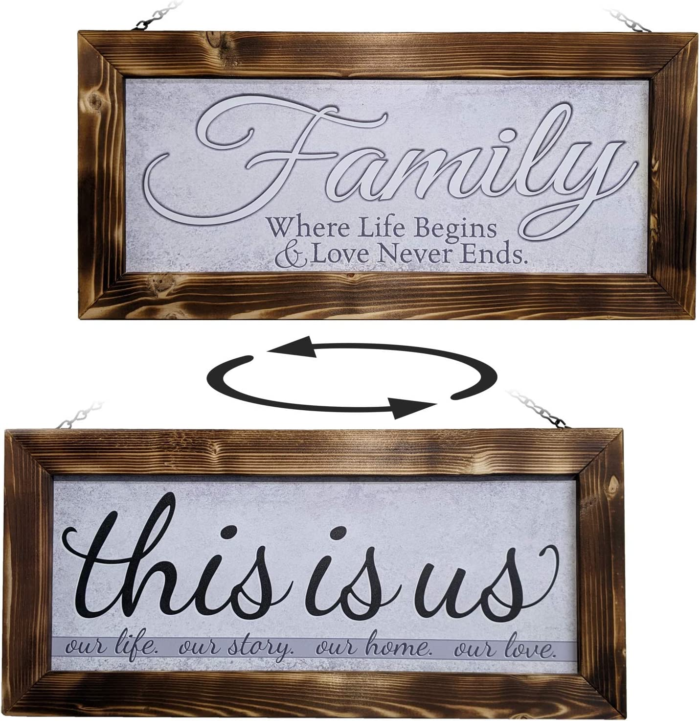 ATX CUSTOM SIGNS - Handmade Rustic Farmhouse Decor Family Sign Double Sided - Soft Grays - This is us and Family Where Life Begins & Love Never Ends