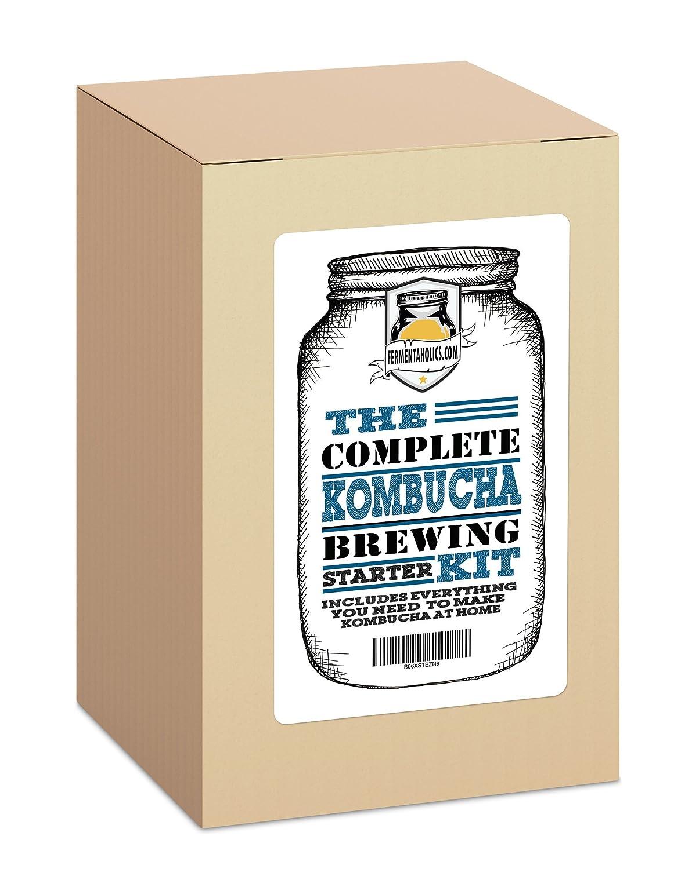 The Complete Kombucha Brewing Starter Kit: Live Organic Kombucha SCOBY- Fermented Starter Tea - Glass Brew Jar - Organic Sugar & Tea - Instructions & Recipes + More! Fermentaholics