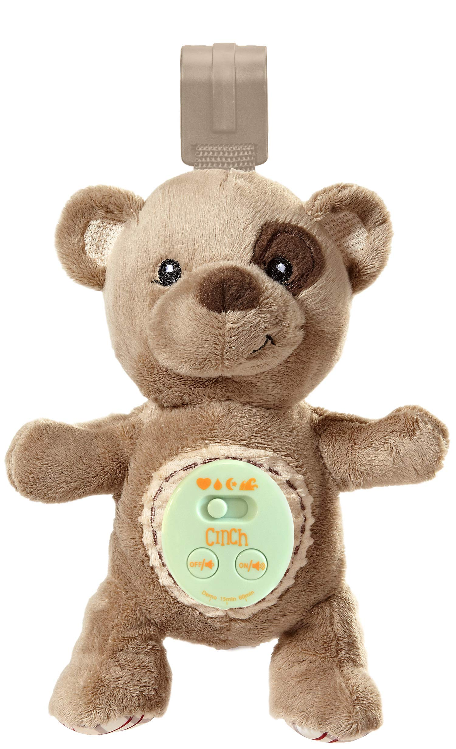 Cinch by dexbaby Plush Mini Bear - Sleep Aid Womb Sound Soother w/Playard and Crib Attachment