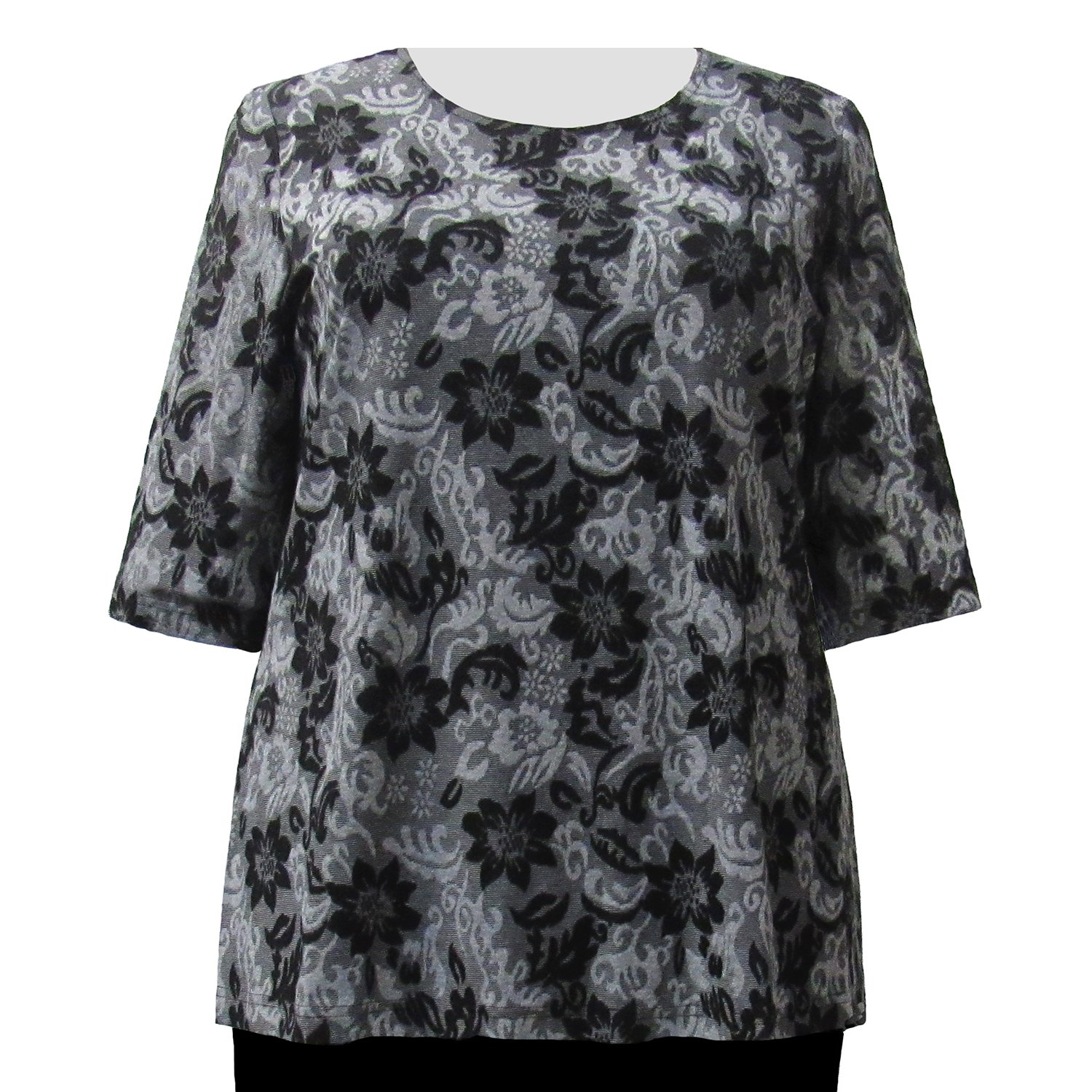 A Personal Touch Grey Floral Womens Plus Size Knit Sweater