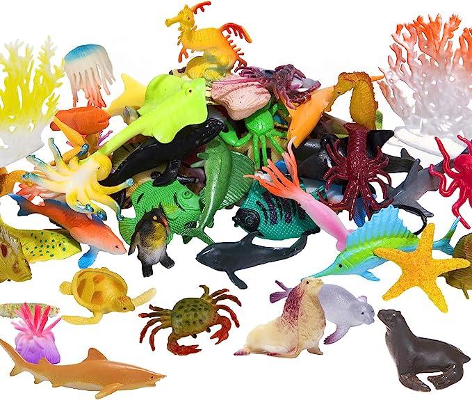 2Pcs Realistic Ocean Life Plastic Animal Figurines Waterproof Models Cognitive